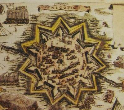 Plano antiguo de las defensas de Nicosia