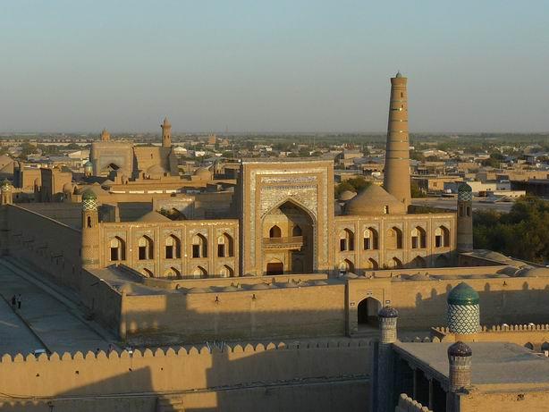 Vista de los tejados de Khiva